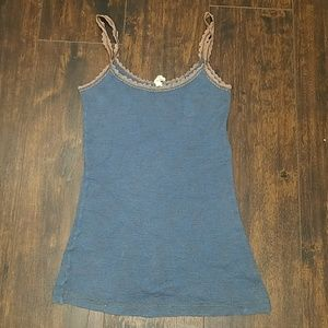 FREE PEOPLE thermal waffle tank lace strap top